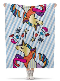 """Плед флисовый 130х170 см """"Единорог в стиле поп арт"""" - арт, паттерн, полоска, попарт, единорог"""
