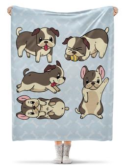 """Плед флисовый 130х170 см """"Собаки"""" - щенок, мопс, год собаки, 2018, новый год"""