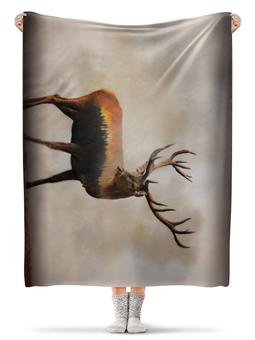 """Плед флисовый 130х170 см """"Лесной олень"""" - олень, арт, рога"""