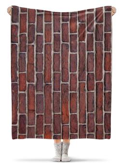 "Плед флисовый 130х170 см ""Кирпичная кладка"" - прикол, арт, дизайн, кирпич, кирпичи"