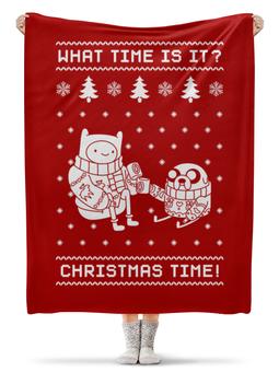 """Плед флисовый 130х170 см """"Новый год с Финном и Джейком"""" - новый год, рождество, время приключений, новогодняя, финн и джейк"""