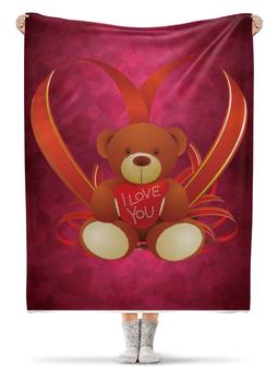 """Плед флисовый 130х170 см """"Мишка"""" - сердце, мишка, подарок"""
