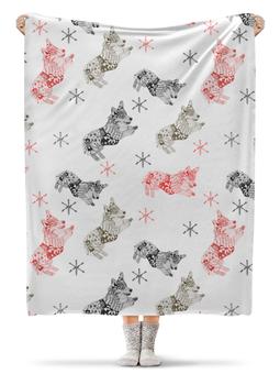 """Плед флисовый 130х170 см """"новогодний корги """" - животные, красный, собака, корги"""