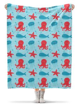 """Плед флисовый 130х170 см """"Морской"""" - стиль, море, осминог, морская звезда, морской"""