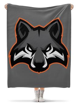 """Плед флисовый 130х170 см """"Black Wolf / Черный волк"""" - арт, животные, волк, wolf, черный волк"""