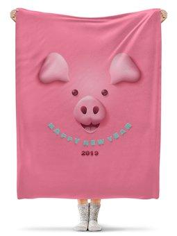 """Плед флисовый 130х170 см """"Новый год"""" - новый год, свинья, 2019"""