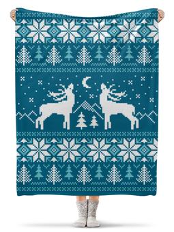 """Плед флисовый 130х170 см """"Норвежский лес"""" - новый год, зима, снежинки, олени, норвежский орнамент"""
