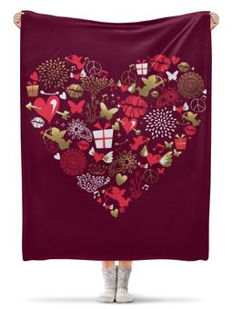"""Плед флисовый 130х170 см """"Валентинка"""" - сердце, любовь, губы, валентинка"""