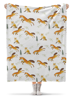 """Плед флисовый 130х170 см """"лисы в лесу"""" - рыжий, лис, лиса, лисенок, животные лисы"""