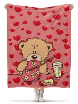 """Плед флисовый 130х170 см """"Мишка"""" - мишка, подарок, сердце"""