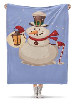 """Плед флисовый 130х170 см """"Снеговик"""" - праздник, новый год, снеговик, 2018, год собаки"""
