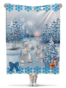 """Плед флисовый 130х170 см """"РОЖДЕСТВЕНСКАЯ НОЧЬ"""" - праздник, снег, лес, подарки, снеговик"""