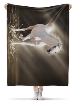 """Плед флисовый 130х170 см """"Белая лошадь """" - лошадь, рисунок, река"""