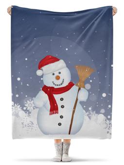 """Плед флисовый 130х170 см """"Новогодний"""" - новый год, рождество, снеговик, новогодний, рождественский"""