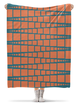 """Плед флисовый 130х170 см """"Квадраты"""" - фигура, оранжевый, треугольник, рыжий, синий"""
