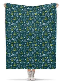 """Плед флисовый 130х170 см """"Strange journey"""" - лес, этно, горы, треугольники, путешествие"""
