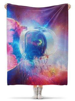 """Плед флисовый 130х170 см """"Космонавт """" - звезды, космос, краски, космонавт"""