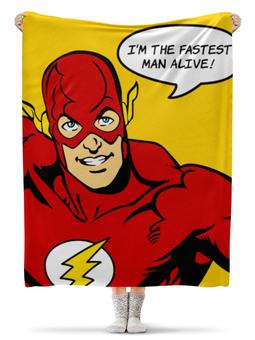 """Плед флисовый 130х170 см """"Флэш """" - flash, комиксы, супергерои, флэш"""