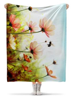 """Плед флисовый 130х170 см """"Весенний шмель"""" - шмель, природа, цветы"""