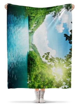 """Плед флисовый 130х170 см """"Озеро"""" - солнце, небо, природа, озеро"""