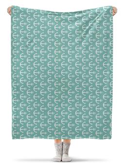 """Плед флисовый 130х170 см """"Морское настроение"""" - якорь, море, узор"""