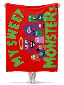 """Плед флисовый 130х170 см """"Пушистые монстры"""" - хэллоуин, монстр, дракон, комиксы, зубы"""