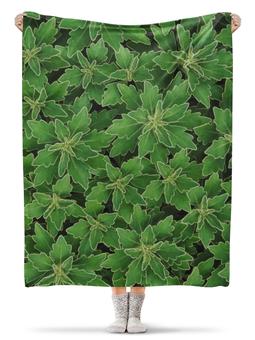 """Плед флисовый 130х170 см """"Зеленые листья"""" - цветы, листья, зеленый, куст"""