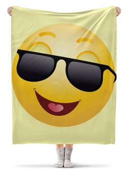 """Плед флисовый 130х170 см """"В очках"""" - романтика, 8 марта, интерьер, смайлики, улыбки"""