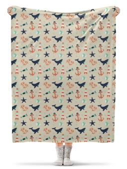 """Плед флисовый 130х170 см """"Акулы"""" - море, якорь, акула, морская звезда, обитатели моря"""