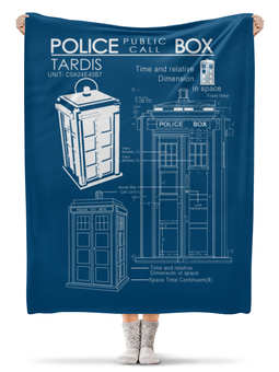 "Плед флисовый 130х170 см ""ТАРДИС"" - doctor who, tardis, доктор кто, тардис, чертёж тардис"