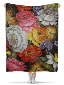 "Плед флисовый 130х170 см ""Цветы"" - цветы"