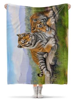 """Плед флисовый 130х170 см """"Тигры"""" - природа, тигры, сопки"""