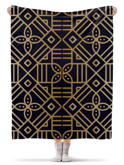 """Плед флисовый 130х170 см """"Цветочное золото"""" - орнамент, мандала, кружево, этнический, геометрический"""