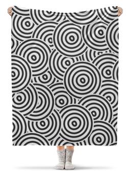 """Плед флисовый 130х170 см """"Радиальный"""" - узор, стиль, круги, чёрно-белый, кольца"""