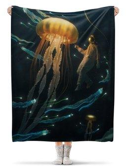 "Плед флисовый 130х170 см ""Jellyfish"" - океан, медуза, jellyfish"