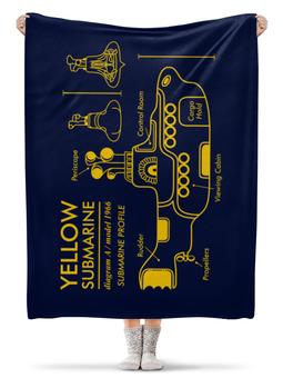 "Плед флисовый 130х170 см ""Yellow Submarine"" - the beatles, yellow submarine, чертёж, жёлтая подводная лодка, жёлтая субмаритна"