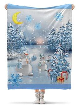 """Плед флисовый 130х170 см """"ЛЕСНОЕ РОЖДЕСТВО"""" - лес, красота, подарки, снеговик, елка"""