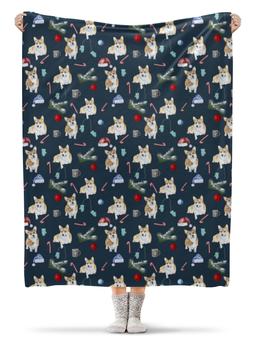 """Плед флисовый 130х170 см """"Новогодний сюрприз """" - животные, собака, новыйгод, корги, вельшкорги"""