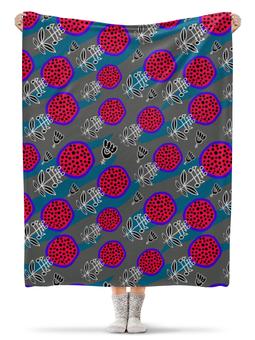 """Плед флисовый 130х170 см """"веселый цветочный узор"""" - арт, рисунок, арт мода"""
