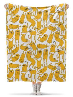 """Плед флисовый 130х170 см """" Джейк Пёс. Время приключений"""" - adventure time, время приключений, finn and jake, финн и джейк, джейк пёс"""
