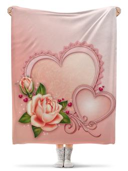 """Плед флисовый 130х170 см """"Сердца"""" - сердце, любовь, роза"""