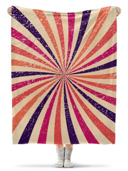 """Плед флисовый 130х170 см """"Калейдоскоп"""" - ретро, разноцветный, абстрактный, полосатый, винтажный"""