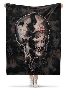 """Плед флисовый 130х170 см """"Skull"""" - череп, ужас, тьма"""