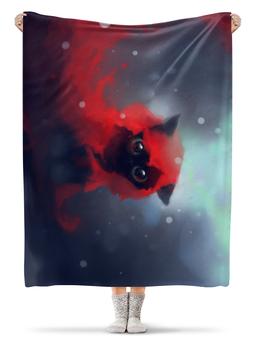 """Плед флисовый 130х170 см """"Черный кот"""" - кот, рисунок"""