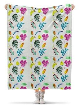 "Плед флисовый 130х170 см ""Фрукты"" - лето, цветы, фрукты, арбуз, банан"