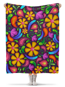 """Плед флисовый 130х170 см """"Цветочное настроение"""" - цветы"""