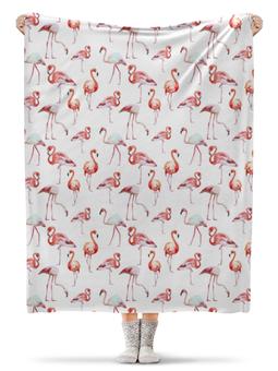 """Плед флисовый 130х170 см """"Фламинго"""" - арт, лето, отдых, птица, розовый"""