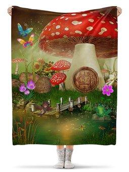 """Плед флисовый 130х170 см """"СКАЗКИ ФЭНТЕЗИ"""" - цветы, эльф, домик, грибы, стиль эксклюзив креатив красота яркость"""