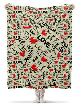"""Плед флисовый 130х170 см """"любовь"""" - сердца, абстракция, надпись любовь, стиль эксклюзив креатив красота яркость, арт фэнтези"""