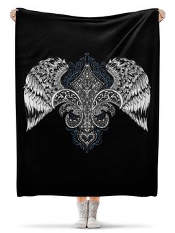 """Плед флисовый 130х170 см """"Королевская лилия с крыльями ESZAdesign"""" - стильный, винтаж, королевский, татуировка, рок"""